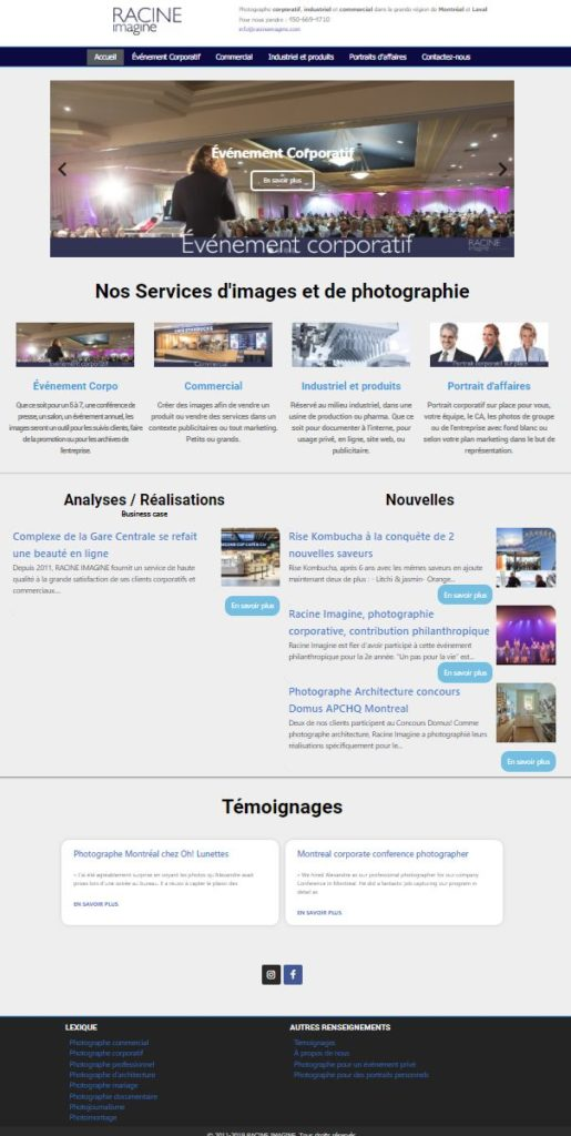 nouveau site 2019 Photographe Corporatif